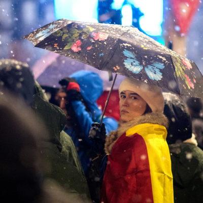Umbrelele la protest – 20 ianuarie 2018